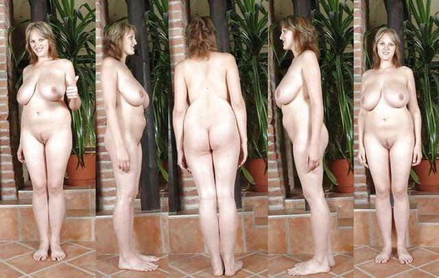 Business woman poses nude